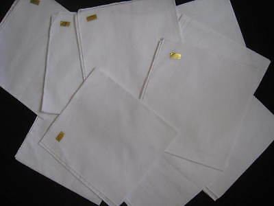 Lot Of 10 White 100 % Cotton Handkerchiefs New