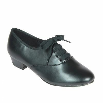 B0Ys/mens Black Oxford Pu Upper Tap Shoes With Toe Taps (Junior 7- Adult 10)