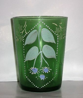 "Antique Victorian Hand Painted Green Enamel Water Glass 4"" Tumbler"