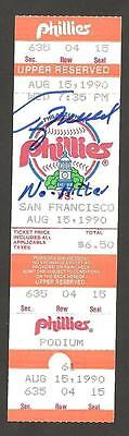 Terry Mulholland Ip Auto Signed No Hitter Ticket 8/15/1990 Phillies Vs. Giants !