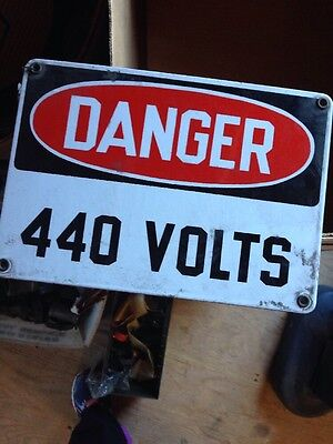 Vintage Metal Industrial 440 VOLTS Sign Caution Danger Non Porcelain Electric