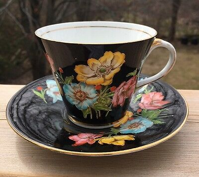 Aynsley Tea Cup Saucer Hand Painted Floral Signed B4824 Vintage