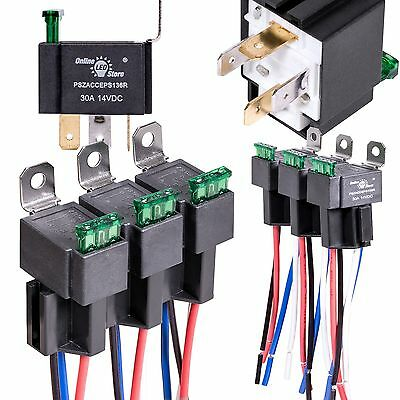 Relay  Harness Set 6 Pack OLS 30A Fuse 12V DC 4-Pin SPST Automotive Relays