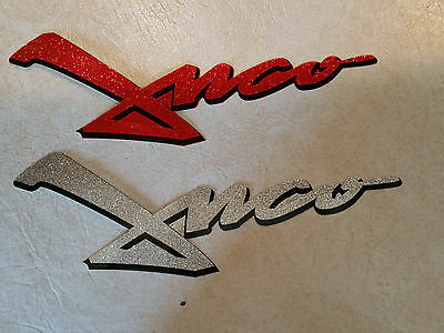 """(2) Vintage 90's JNCO Jeans Promo Decals Stickers 12x2"""" Red & Sliver"""