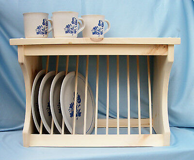 Plate-Rack-Wood-Wooden-Wall-Mount-Or-Counter-New-Free Shipping