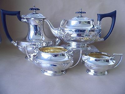 Walker & Hall Art Nouveau Sterling Silver Coffee Tea Set 1917