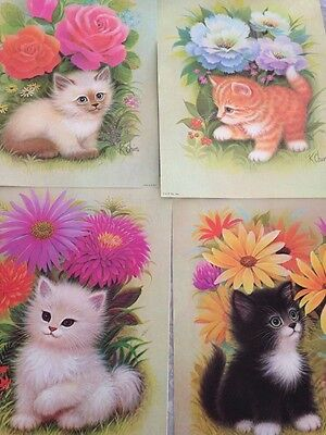 Vintage K CHIN CAT flower PRINT POSTER LITHO 9X12 B. P. CO 4 FRAMEABLE prints