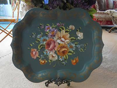 "antique vintage hand painted floral TOLEWARE TRAY 25"" art gift philadelphia pa"