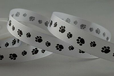 16mm Black Paw Print Grosgrain Ribbon - 1m Lengths