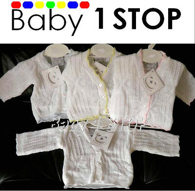 Baby White Cardigan Boys Girls Unisex Colours 0-3 Months 3-6 Months 6-12 Months