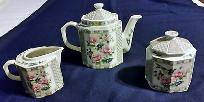 3 Piece Decorative Tea Set With Sugar Bowl With Lid  And Creamer Made In Japan