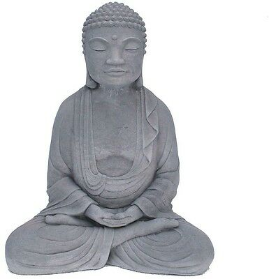 Meditating Buddha Garden Statue Antique Gray Outdoor Yard Stone Decor Peaceful