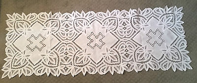 "Antique Hand Made Battenburg Lace & Draw Work Linen Panels Runner - 19"" By 52"""