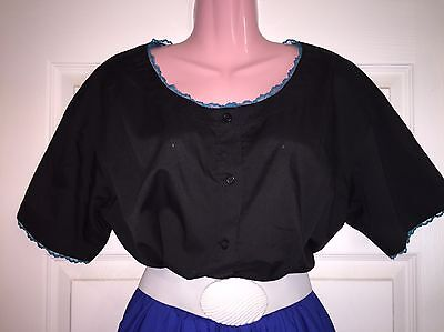 Square Dance Ladies Black With Teal Lace Blouse - Medium