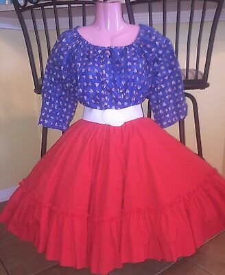 Square Dance 2 PC Ladies Blue Heart Top & Red Skirt- Small/ Medium