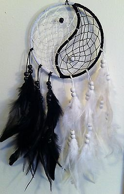"Cherokee 21"" Dream Catcher, Black & White, Yin Yang, Feathers, Wood Beads"