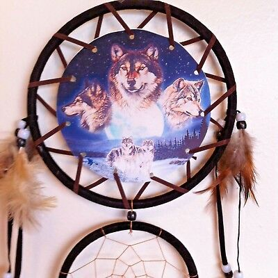 "Cherokee 27"" Black Dream Catcher, Wolves Printed on Canvas, Feathers, Beads"