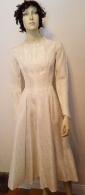 Vintage 1940's Off White Taffeta Brocade Wedding Party Dress Fit Flare Sz S
