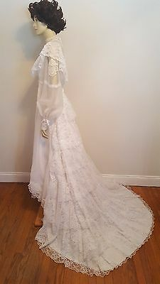 Vintage 1970's Bridalane Wedding Gown Empire Waist Lace Tiered Train Sz S M