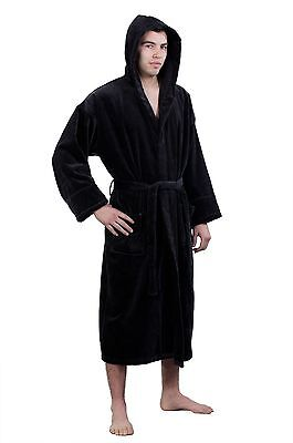 Hooded Terry Velour Robe 100% Turkish Cotton Adult Men/Woman One Size -BLACK