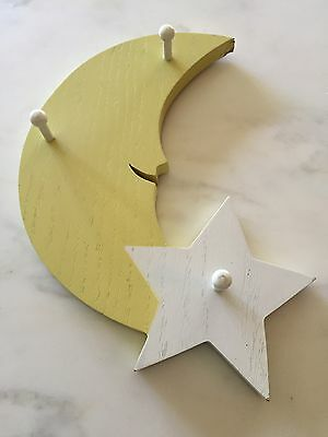 Baby Wooden MOON & STAR ~ Wall Hanging Nursery Children Sweet Infant ART DECOR