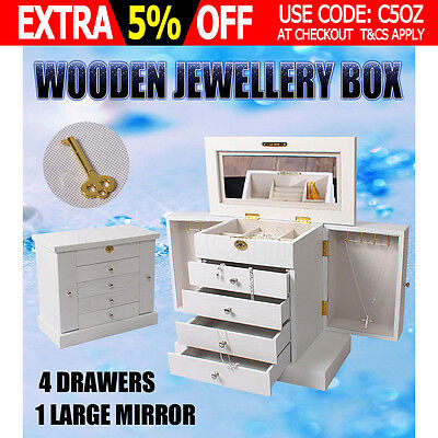 Wooden Jewellery Storage Box Extra Large Watch Case 5 Layers with Mirror White