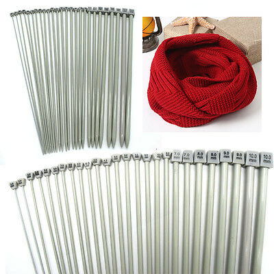 Set of 26Pcs Single Pointed Stainless Sewing Knit Knitting Needles Case 2mm-10mm