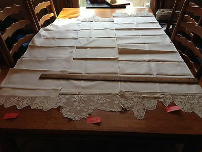 3 vintage linen table runners with lace