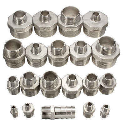 304 NPT Male x Male Hex Nipple Threaded Reducer Pipe Fitting Stainless Steel  Bo