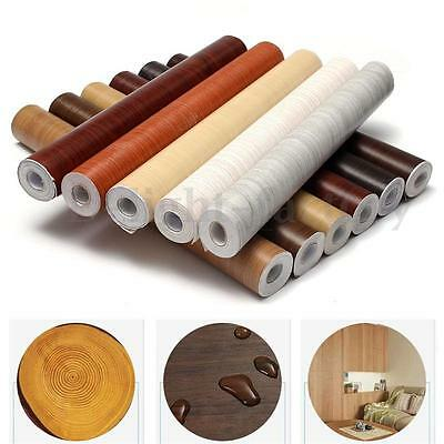 Self Adhesive Wood Grain Wallpaper Film Sticker  Sticky 45cm*10m For Home NEW