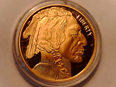 2010 $50 Dollar Buffalo Tribute Proof - 24Kt Pure Gold Clad Bronze