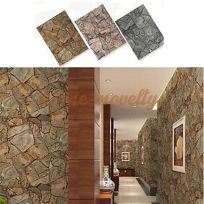 3D Brick Textured Slate Effect Rock Stone Wallpaper Backdrop Wall Covering Paper