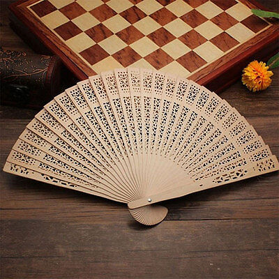 Chinese Style Hollow Hand Wedding Carved Wooden Bamboo Folding Fan NEW