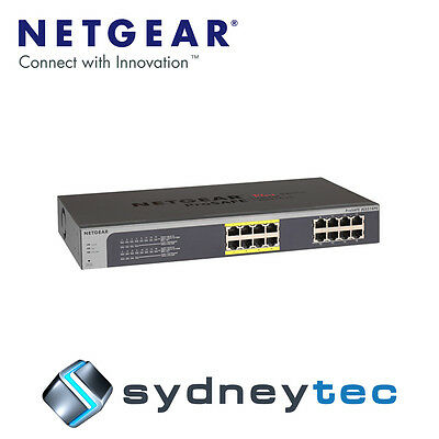 New Netgear JGS516PE ProSAFE Plus 16-Port Gigabit Rackmount Switch with PoE