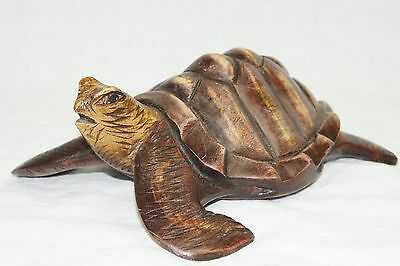 "Wooden 8"" Long Hand Carved Turtle"