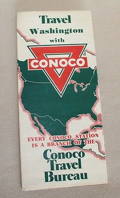 Vintage Conoco Washington Road Map 1930's Gas Station
