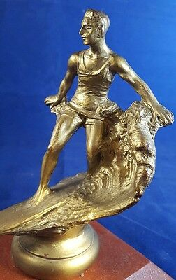 Cool & Rare 1920's Hawaiian Metal Surf Board Rider Trophy Hood Ornament Surfing