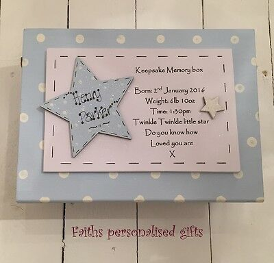 **baby Boy**girl Personalised Keepsake Memory Wooden Box**blue**pink**