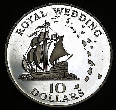 1981 East Caribbean States $10 Silver Proof Coin Golden Hind / Royal Wedding