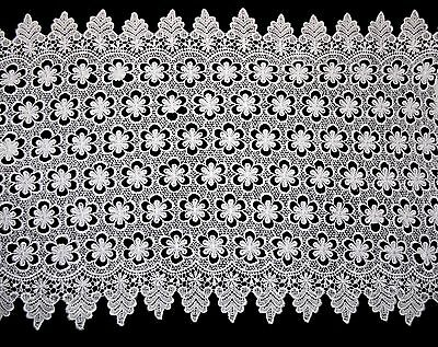 """18.5"""" White Floral Guipure Venice Lace Trim Double Scalloped DIY Sewing By Yard"""