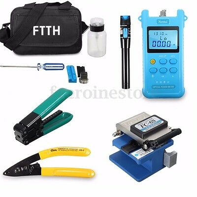 10 in 1 Fiber Optic FTTH Tool Kit FC-6S Cutter Power Meter Visual Fault Locator