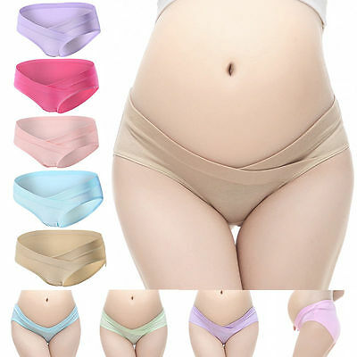 Maternity Low-Waist Cotton Panties Pregnancy Underwear Briefs Abdomen- Support