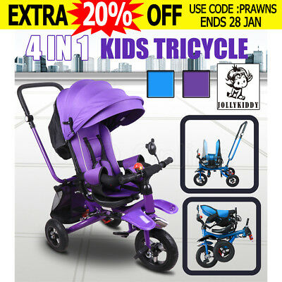 JOLLYKIDDY 3 IN 1 Ride-On Toys Kid Toddlers Tricycle Bike Trike Handle Stroller