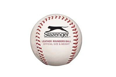 Slazenger Official Size Baseball Match Training Rounders Quality Leather Ball