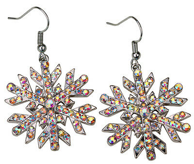 Snowflake dangle drop earrings Xmas holiday jewelry gifts women her ED23 silver