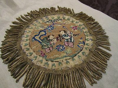 Antique Embroidery Chinese Hand Worked Silk Panel Gold Metal Trim 1890