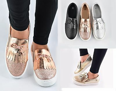 Ladies Womens Slip On Trainers Pumps Sneakers Size New Running Shoes Glitter