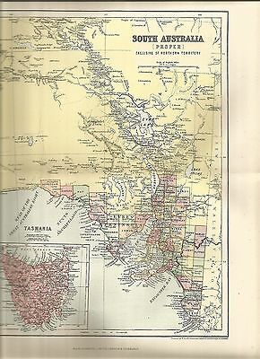 Antique Maps Paper South Australia Tasmania  Pre 1914  100 Years Old Political
