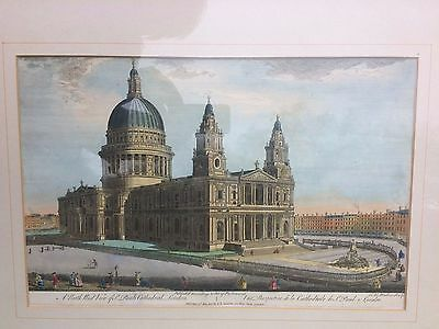 Early 19th C coloured engraving North West View of  St Paul's Cathedral London