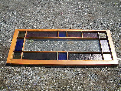 "Antique Leaded Stained Glass Window from Victorian House 48x19"" red blue"